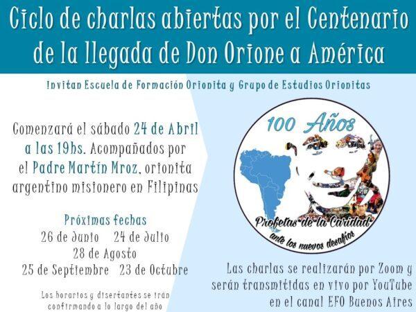 Ciclo de charlas abiertas por el Centenario de la llegada de Don Orione a América