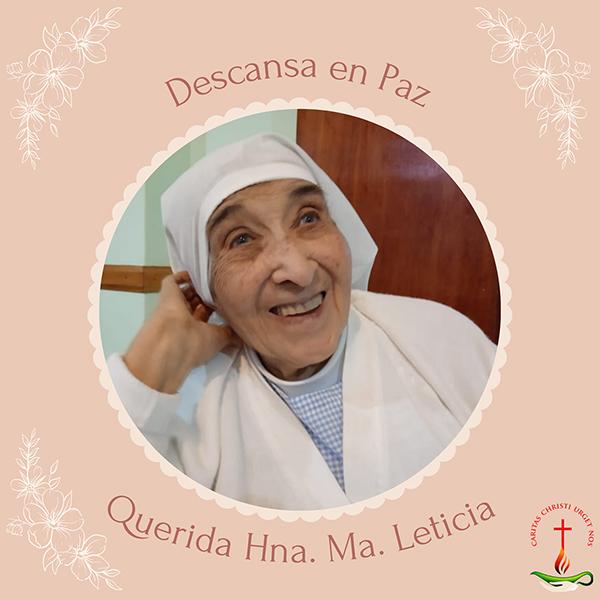 Hermana M. Leticia retorna a la Casa del Padre